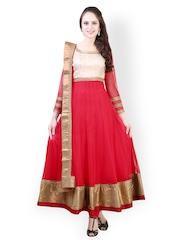 Libas Women Red Embroidered Net Churidar Kurta With Dupatta