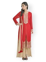 Libas Women Red Embroidered Salwar Suit With Dupatta