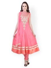 Libas Women Pink Embroidered Net Churidar Kurta with Dupatta