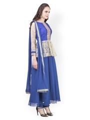 Libas Women Blue Embroidered Churidar Kurta with Dupatta