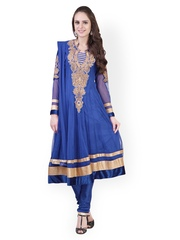 Libas Women Blue Embroidered Net Churidar Kurta with Dupatta
