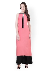 Libas Women Pink & Black Salwar Kurta