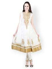 Libas Women White & Golden Embroidered Net Churidar Kurta With Dupatta