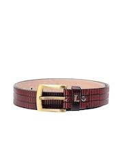 Ligans NY Men Red Leather Belt