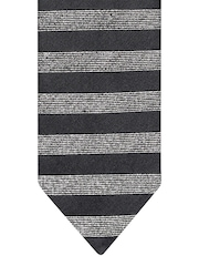 Lino Perros Charcoal Grey & Silver-Toned Striped Tie