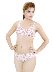 White & Magenta Lingerie Set ANUSHKA Little Lacy