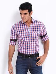 Locomotive Men Blue & Orange Checked Slim Fit Casual Shirt