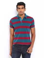 Locomotive Men Blue & White Striped Polo T-shirt