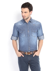 Locomotive Men Blue Denim Slim Fit Casual Shirt