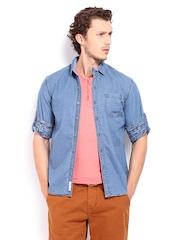 Locomotive Men Blue Denim Slim Fit Casual Shirt