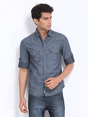 Locomotive Men Blue Slim Fit Casual Denim Shirt