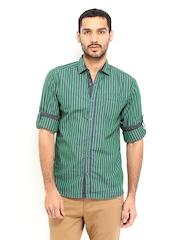 Locomotive Men Green & Navy Striped Slim Fit Casual Shirt
