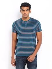 Men Green & Orange Striped Henley T-shirt LOCOMOTIVE