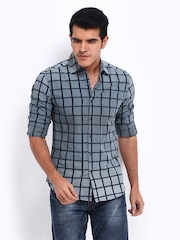 Locomotive Men Grey & Black Checked Slim Fit Casual Shirt