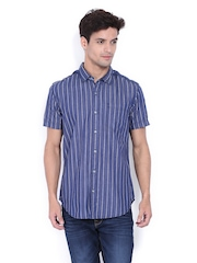 Locomotive Men Navy & White Striped Slim Fit Casual Shirt