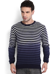Locomotive Men Navy & White Striped Ombre-Dyed Sweater