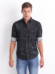 Locomotive Men Navy Slim Fit Denim Casual Shirt