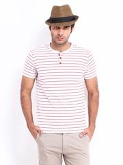 Men White & Red Striped Henley T-shirt LOCOMOTIVE