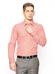 London Bridge Men Orange & White Striped Slim Fit Formal Shirt