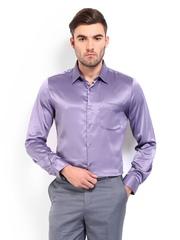 London Bridge Men Purple Slim Fit Party Shirt