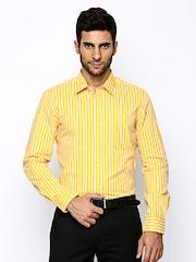 London Bridge Men Yellow & White Striped Slim Fit Formal Shirt