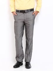 London Bridge Men Dark Grey Slim Fit Formal Trousers