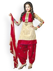 Lookslady Perfect Beige Embroidered Chanderi Unstitched Dress Material