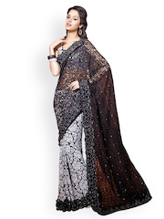 Lookslady Perfect Black & White Brasso Partywear Saree