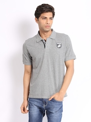 Lotto Men Grey Melange Tale Polo T-shirt
