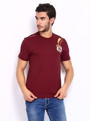 Lotto Men Maroon Printed Mundo Tshirt