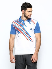 Lotto Men White & Blue POLO SLADE Printed Polo T-shirt