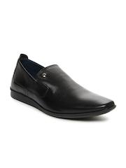 Louis Philippe Men Black Leather Semiformal Shoes