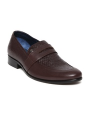 Louis Philippe Men Burgundy Leather Semiformal Shoes