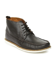 Louis Philippe Men Dark Brown Leather Casual Shoes