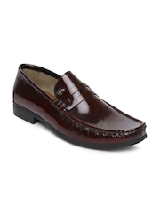 Louis Philippe Men Maroon Patent Leather Casual Shoes