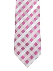 Pink & White Checked Silk Tie Louis Philippe