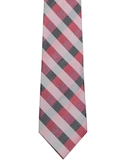 Maroon Checked Silk Tie Louis Philippe
