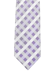 Blue & White Checked Silk Tie Louis Philippe