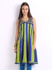 Lovely Lady Blue & Green Printed Anarkali Kurta