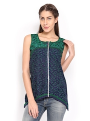 Lovely Lady Navy & Green Printed Tunic