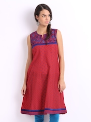 Lovely Lady Red & Blue Printed Anarkali Kurta