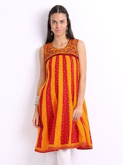 Lovely Lady Red & Orange Printed Anarkali Kurta