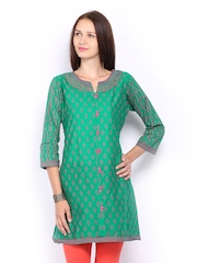 Lovely Lady Women Green & Pink Printed Kurta
