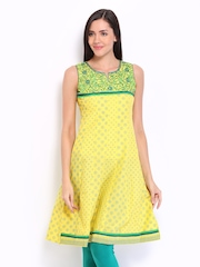 Lovely Lady Yellow & Green Printed Anarkali Kurta