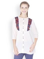 Lyla Women White Embroidered Kurti