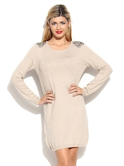 MANGO Beige Beaded Shoulder Jersey Dress