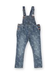 MANGO Kids Girls Blue Star Printed Denim Dungarees
