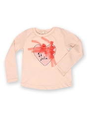 MANGO Kids Girls Peach-Coloured Printed Special Day T-shirt