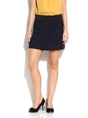 MANGO Navy Wrap Mini Skirt