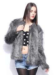 MANGO Women Black & Grey Estrella Jacket